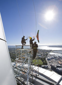 Wind power on the Sky Tower